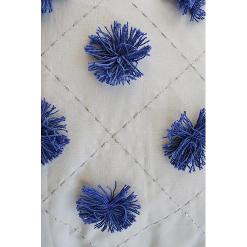 Bungalow Living Blue Pom Pom Cushion