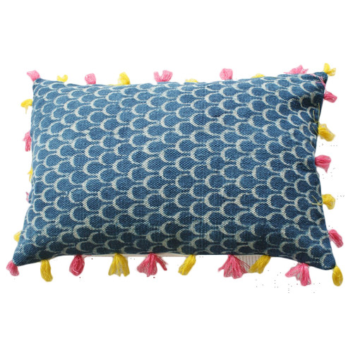 Blue Dhurrie Large Lumber Cushion with Pink & Yellow Tassels