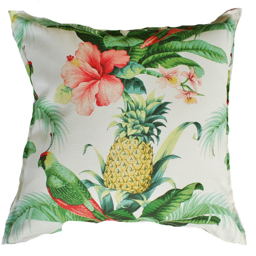 Bungalow Living Parrots, Pineapples & Pink Hibiscus Outdoor/Indoor Cushion
