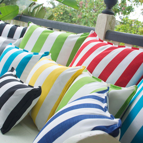 Aqua & White Stripe Cushion