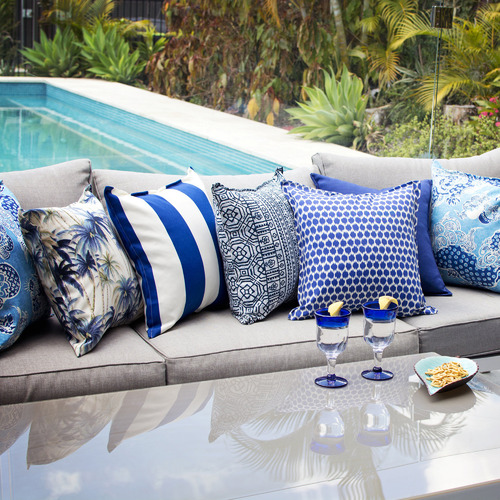 Bungalow Living Blue Palm Trees Outdoor Cushion