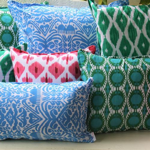 Blue Cornflower Ikat Velvet Cushion