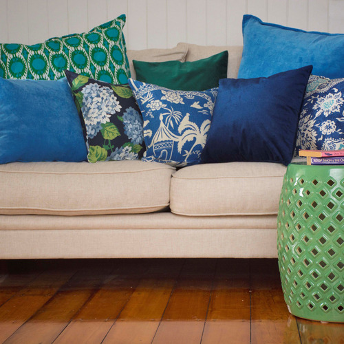 Bungalow Living Green Peacock Cotton Cushion