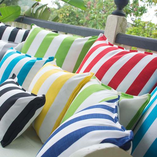 Bungalow Living Green & White Stripe Cabana Outdoor Cushion