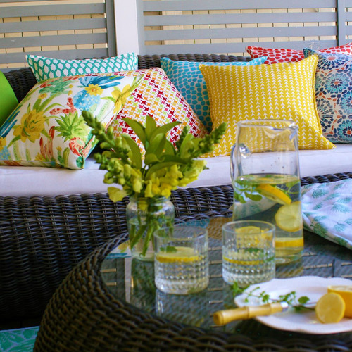 Bungalow Living Green Solid Outdoor Cushion