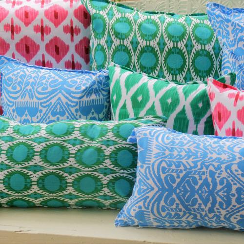 Green & White Ikat Cotton Cushion
