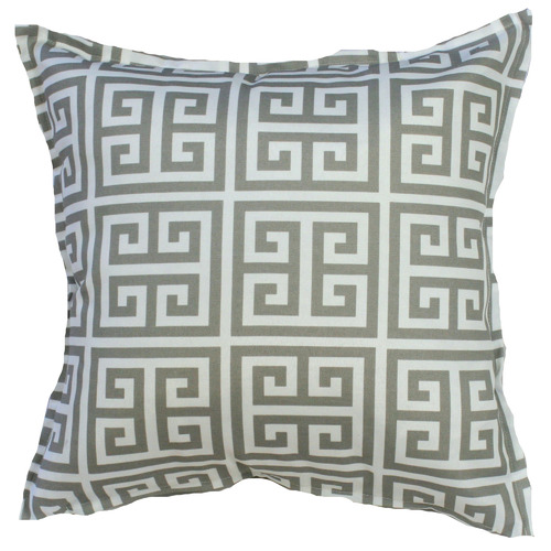 Bungalow Living Grey & White Greek Key Cushion