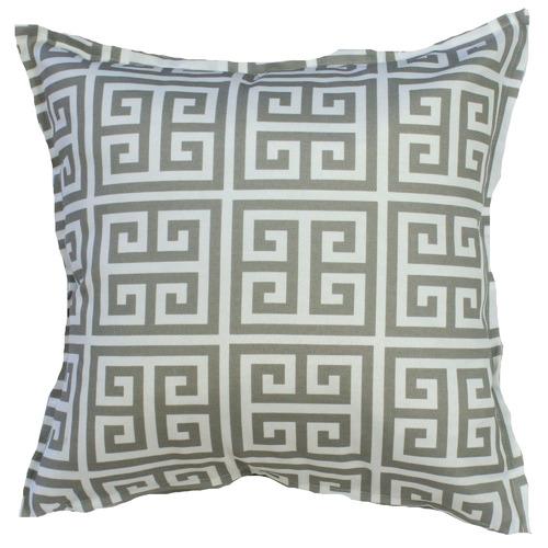 Grey & White Greek Key Cushion