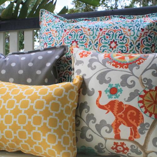 Grey & White Ikat Spot Cushion