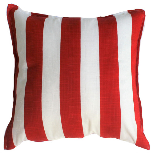Bungalow Living Red & White Stripe Outdoor Cushion