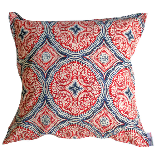 Bungalow Living Red & Blue Medallion Outdoor Cushion