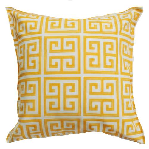 Yellow & White Greek Key Cushion
