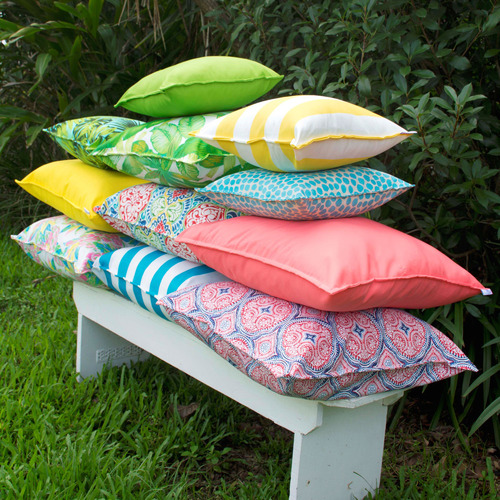 Bungalow Living Yellow & White Stripe Outdoor Cushion