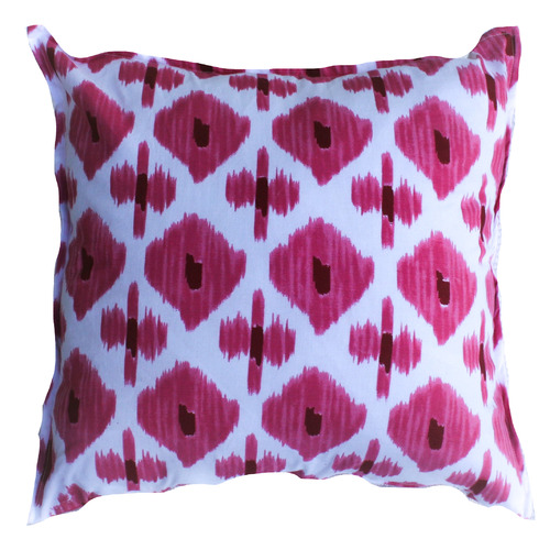 White & Pink Ikat Cotton Cushion