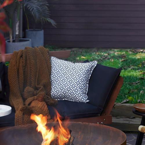 Bungalow Living Blue Geometric Outdoor Cushion