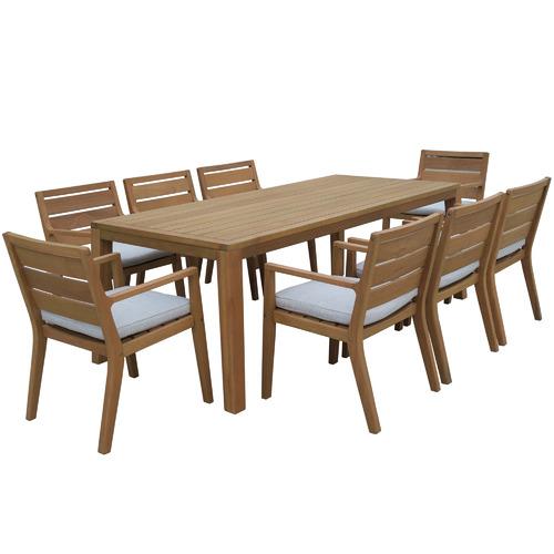 Maya Outdoor Furniture 8 Seater Bernie Eucalyptus Outdoor Dining Set