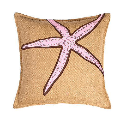 Global Treasures Eco-Accents Designs Starfish Burlap Pillow