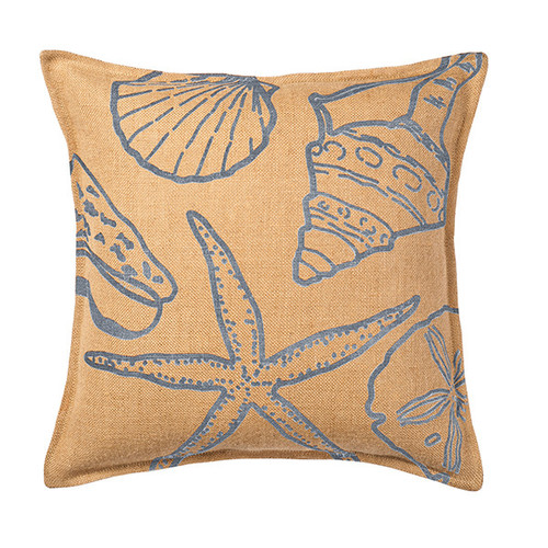 Global Treasures Eco-Accents Designs Shell Burlap Pillow