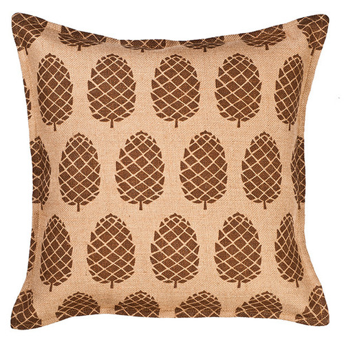 Global Treasures Eco-Accents Designs Pine Cone Burlap Pillow
