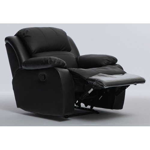 Black Leather Sofa With Recliner: Kacey Black Leather Single Recliner Sofa