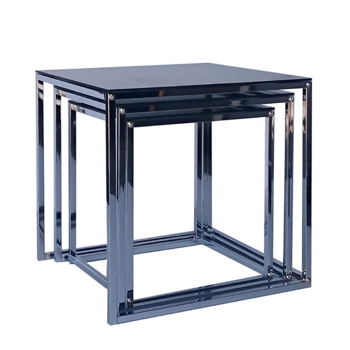 Evergreen Home Brooke Polished Steel Nesting Side Tables
