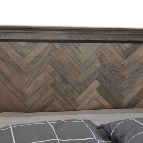 By Designs Dark Timber Mosaic Oak Wood Queen Bed