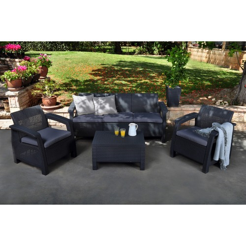 Keter Dark Grey Corfu 5 Seater Lounge & Table Set