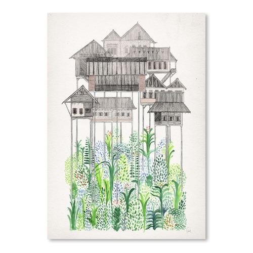 Cambodian Stilts Printed Wall Art