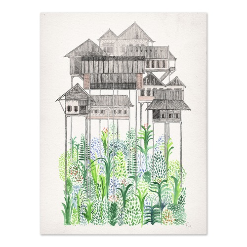 Americanflat Cambodian Stilts Printed Wall Art