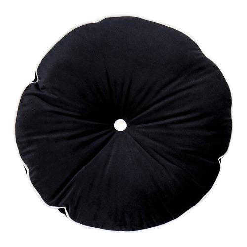 Urban Road Midnight Black Round Velvet Cushion