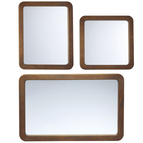 The Home Collective 3 Piece Natural Midwod Wooden Mirror Set