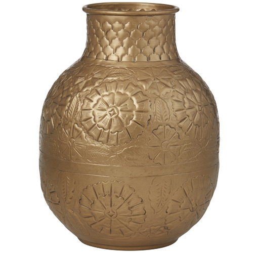 The Home Collective Antique Gold Amala Metal Vases