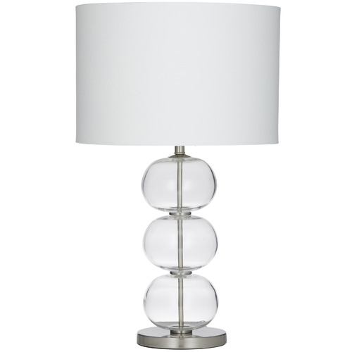 The Home Collective Brushed Silver Lily Glass Table Lamp