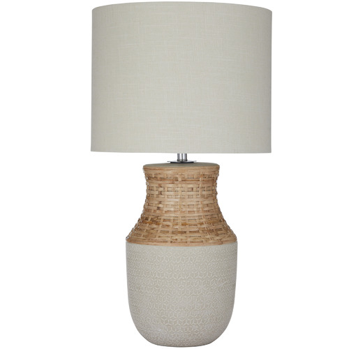 The Home Collective Panama Ceramic & Rattan Table Lamps
