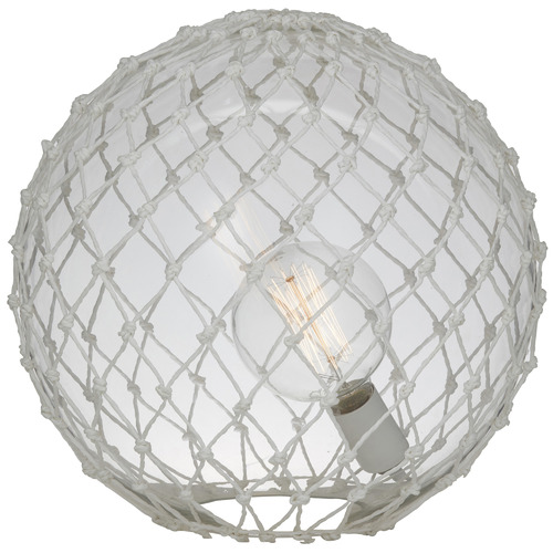 The Home Collective 39cm White Rory Glass & Rope Table Lamp