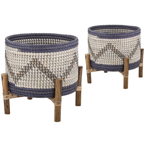 The Home Collective Razi Rattan Planters On Stand