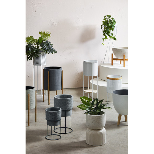 The Home Collective Cream Oden Ceramic Pot on Stand
