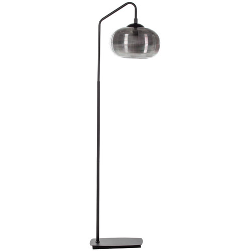 The Home Collective Black & Silver Orb Glass Floor lamp