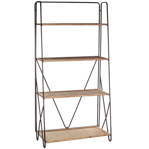 The Home Collective Natural & Black Portsea 4 Tier Shelving Unit