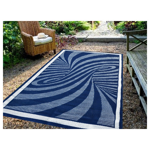 Ground Work Rugs Modern Outdoor Rug Chatai in Navy