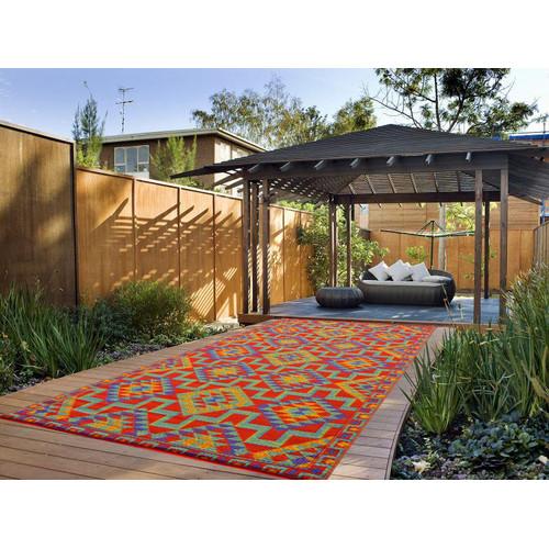 Ground Work Rugs Modern Outdoor Rug Chatai in Rust