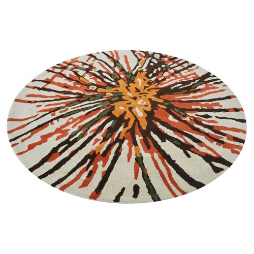Ground Work Rugs Rust Web Halb Round Wool-Blend Rug