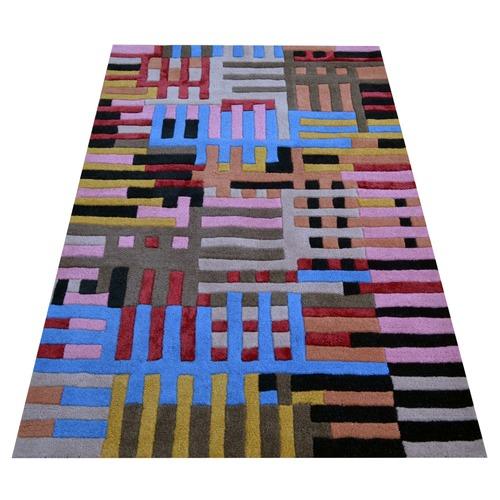 Ground Work Rugs Grid Decotex Hand Made Wool-Blend Rug