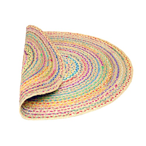 Ground Work Rugs Plaited Hand Made Round Jute Rug