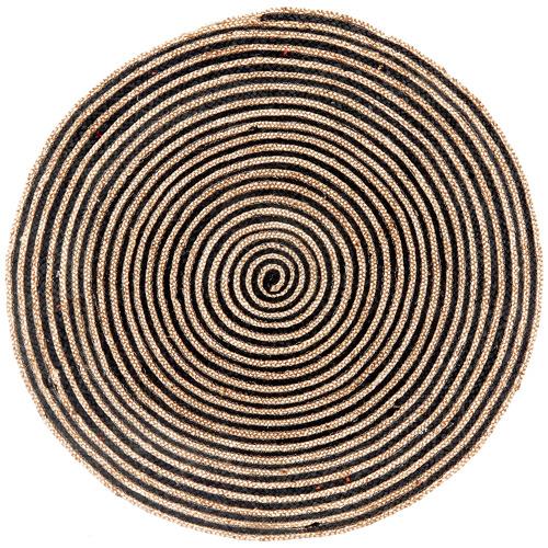 Ground Work Rugs Natural & Black Salvador Hand Made Round Rug