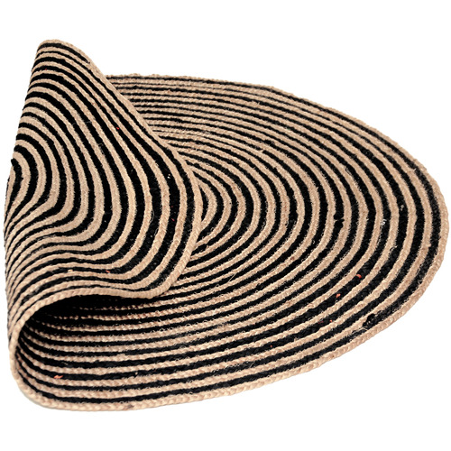 Ground Work Rugs Natural & Black Salvador Hand Made Round Rug