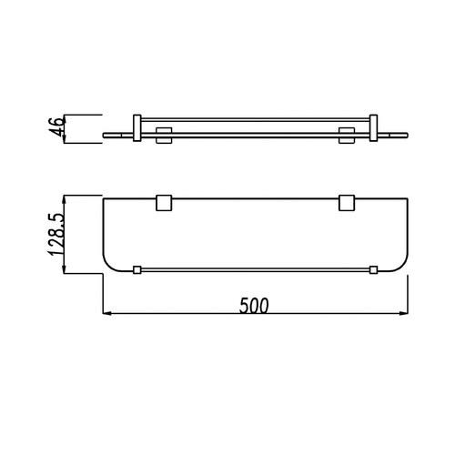 ACA Tapware Black Glass Storage Shelf