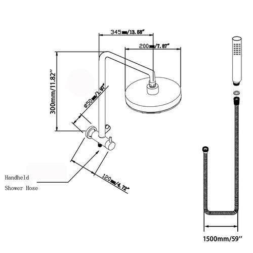 ACA Tapware 20cm Black Round Water Inlet Shower Station