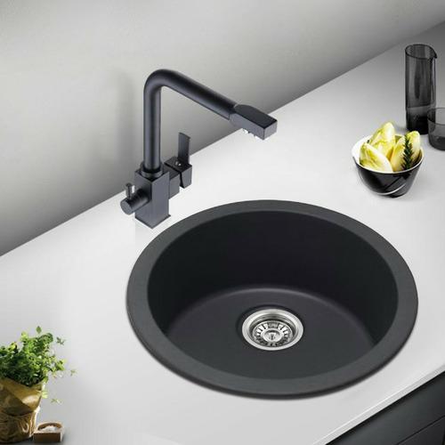 Expert Homewares Black Round Granite Quartz Stone Kitchen Sink