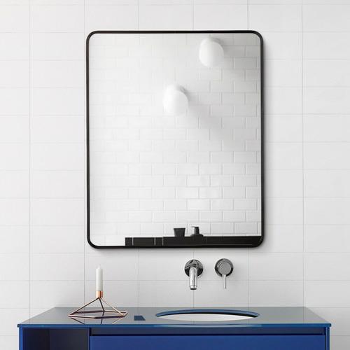 Black Rectangular Aluminium Wall Mirror with Brackets